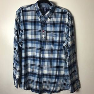 Izod blue plaid button down shirt. Medium